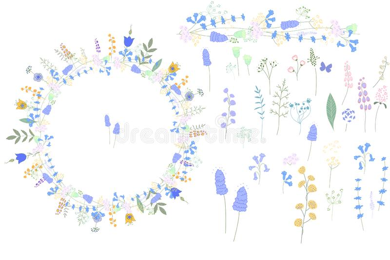 Wild blue floral elements for your design. stock illustration