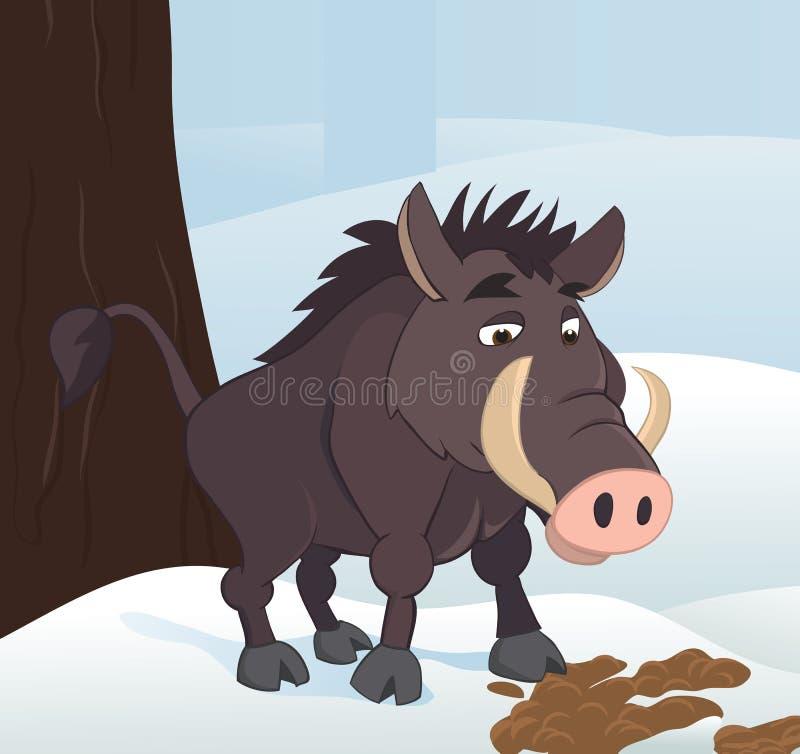 Download Wild boar stock vector. Illustration of snowing, animals - 17562807