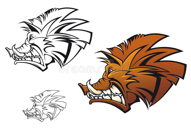 Wild boar. In cartoon style as a tattoo or mascot vector illustration