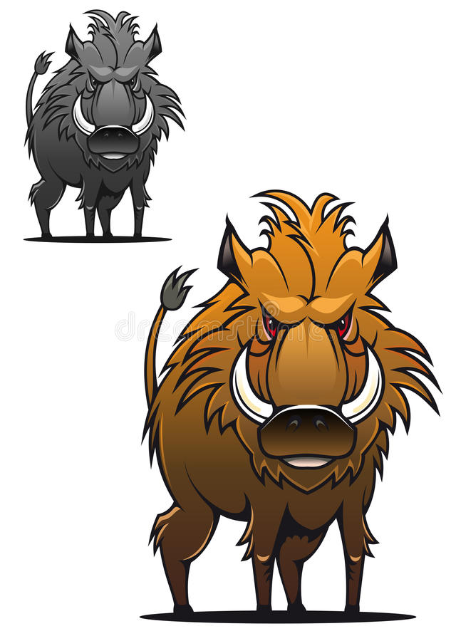 Wild boar. In cartoon style as a tattoo or mascot stock illustration