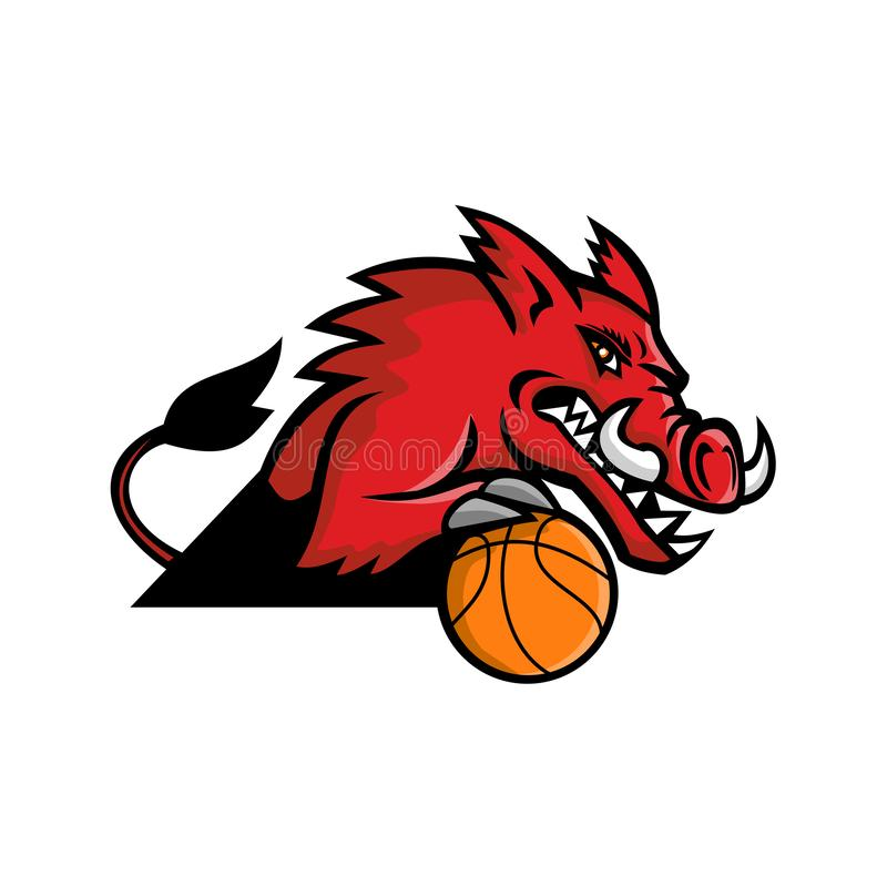 Wild Boar Basketball Mascot vector illustration