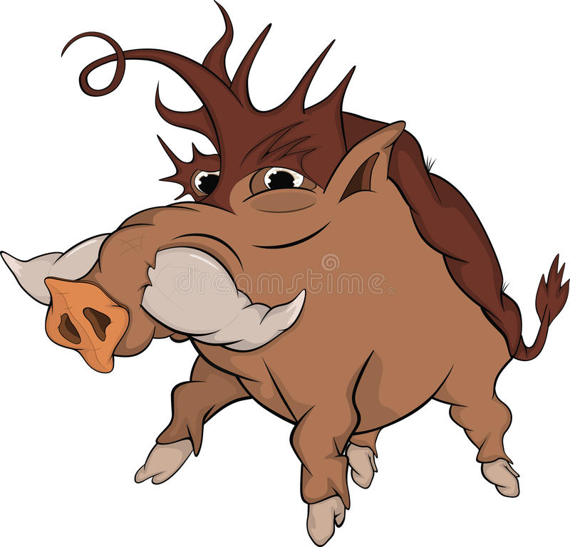 Wild boar. Cartoon. Brown wood wild boar with the big canines stock illustration
