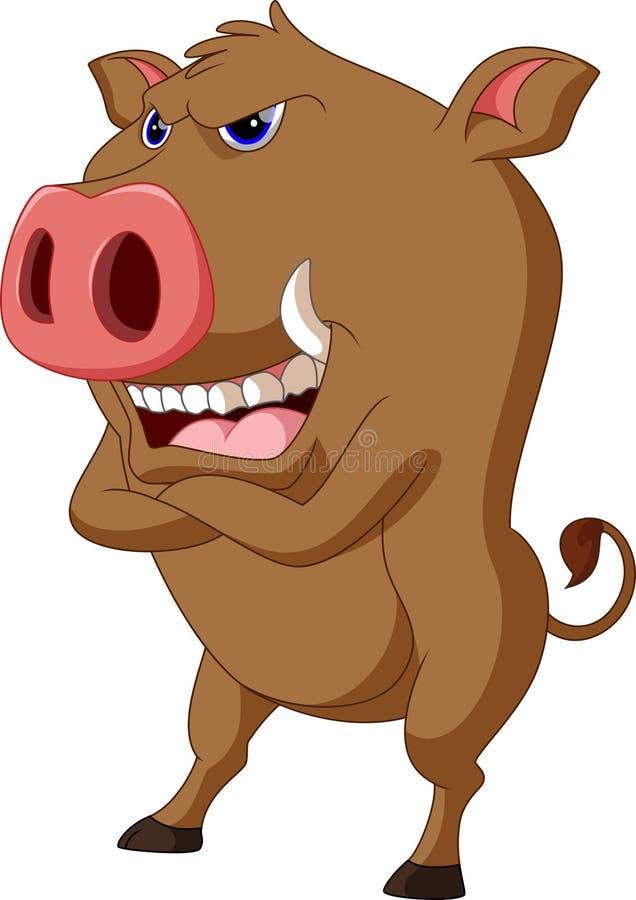 Wild boar cartoon vector illustration