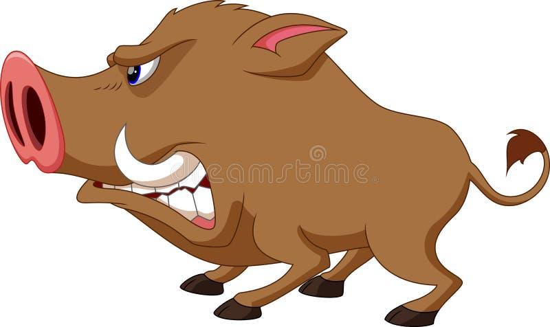 Wild boar cartoon. On a white background vector illustration