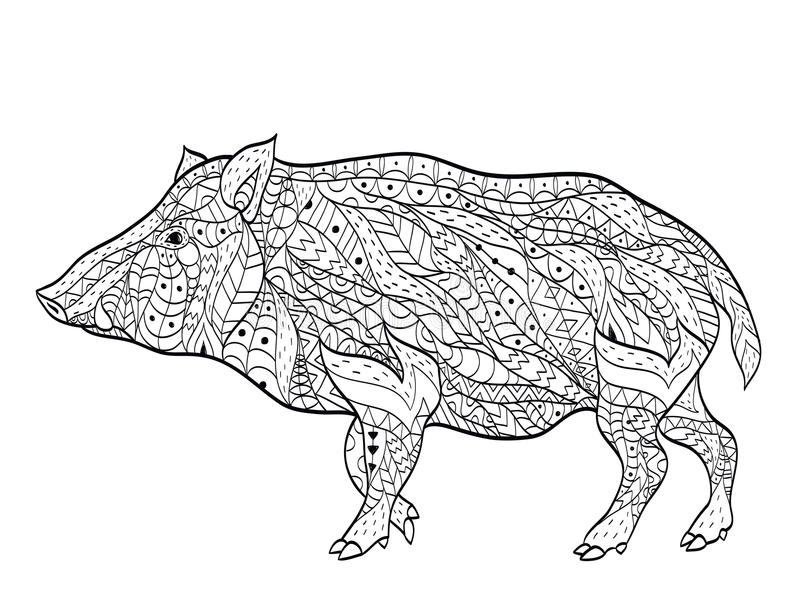 Wild boar coloring vector for adults stock illustration