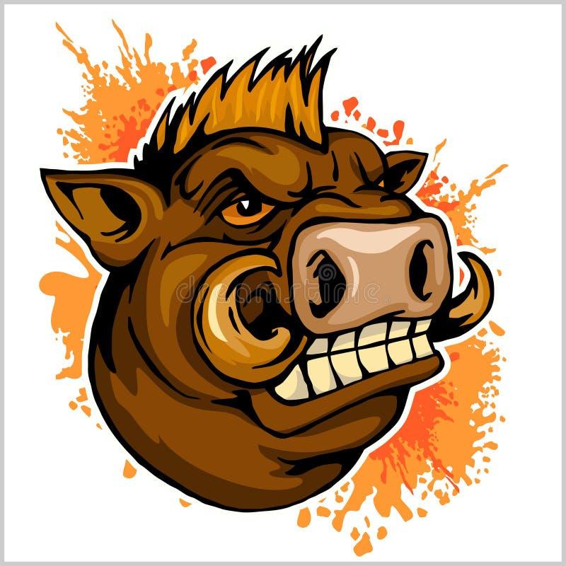 Wild boar head mascot. On grunge background - vector illustration vector illustration