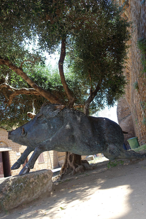 The wild boar monument Sus scrofa in the square of Cerveteri, a symbol of local cuisine. Cerveteri Rome Italy The wild boar monument Sus scrofa in the square of royalty free stock photos