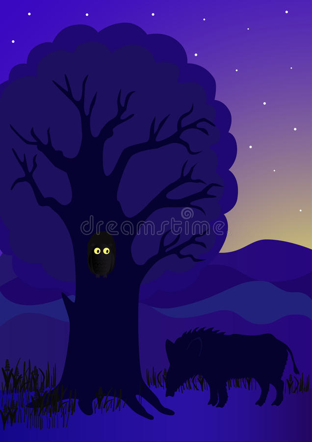 Download Wild boar under a tree stock vector. Image of mammal - 24520724