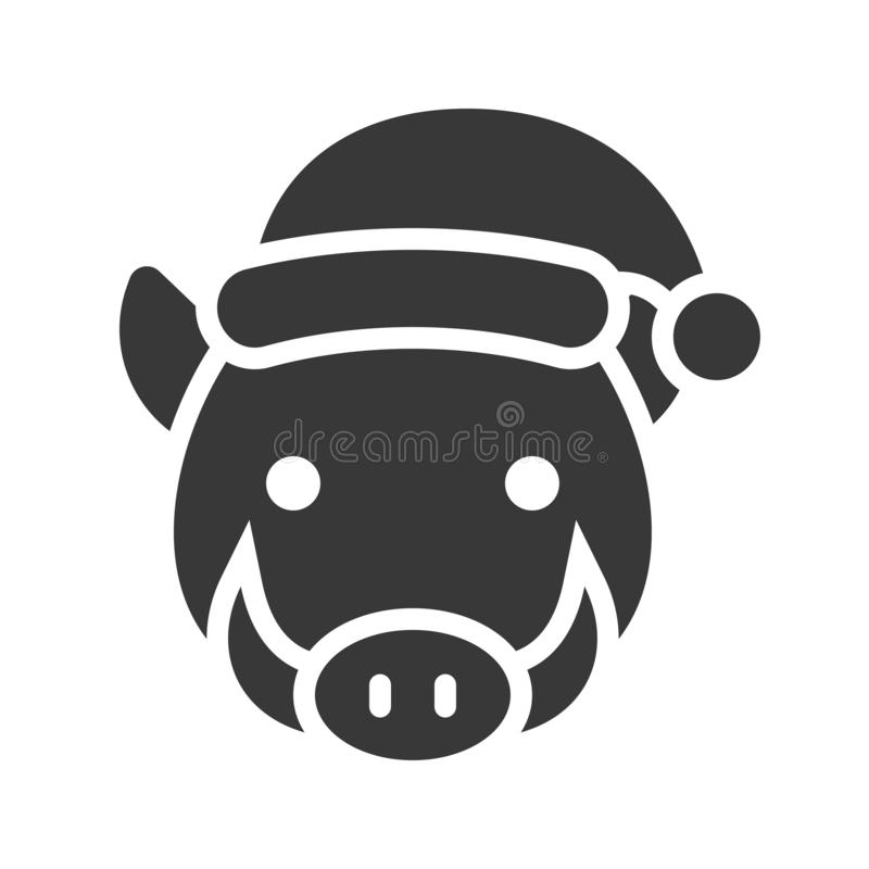 Wild boar wearing santa hat silhouette icon design. Wild boar wearing santa hat, silhouette icon design royalty free illustration