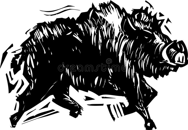 Wild Boar. Woodcut style image of a wild boar with tusks royalty free illustration
