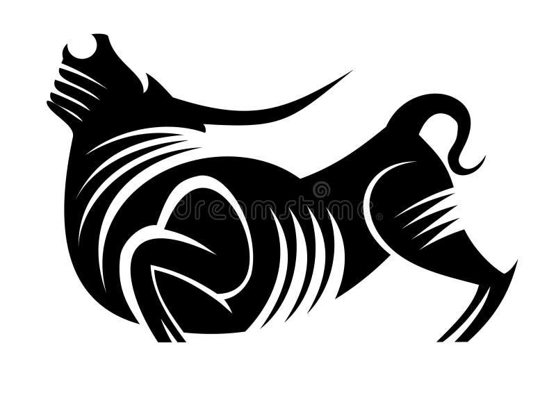 Wild bull. Black silhouette of bull as a mascot