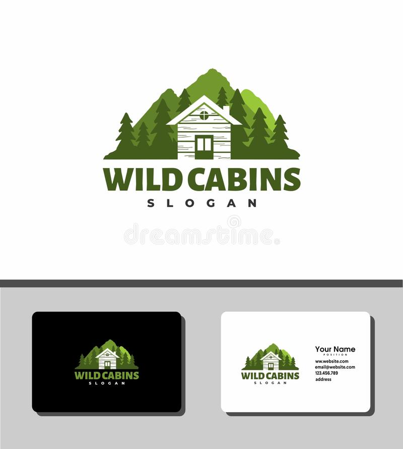 Wild cabins logo royalty free stock images