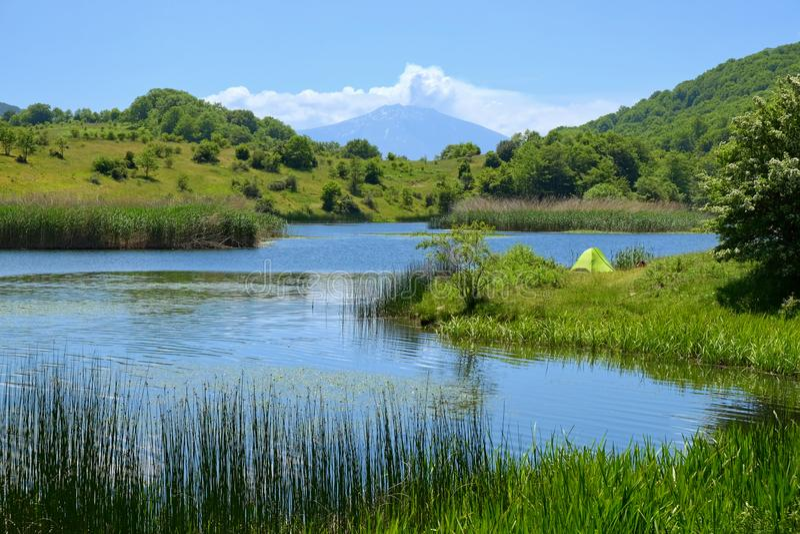 Wild Camp On Lake In Nebrodi Park, Sicily stock photo