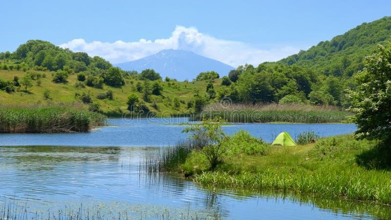 Wild Camp On Lake In Nebrodi Park, Sicily royalty free stock photo