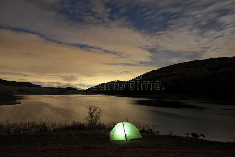 Wild Camp At Night On Lake In Nebrodi Park, Sicily stock photo