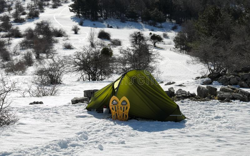 Wild Camp On The Snow royalty free stock photography