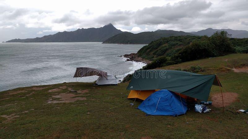Wild camp in Tap Mun, HongKong royalty free stock photography