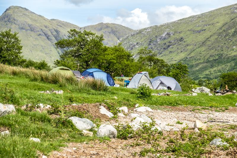 Wild camping in the wildernis of Glen Etive, Scotland stock photography