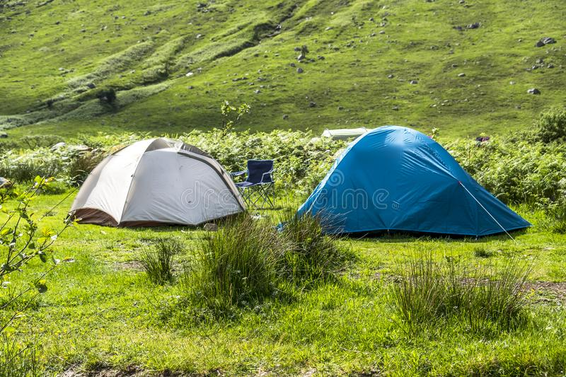Wild camping in the wildernis of Glen Etive, Scotland stock image