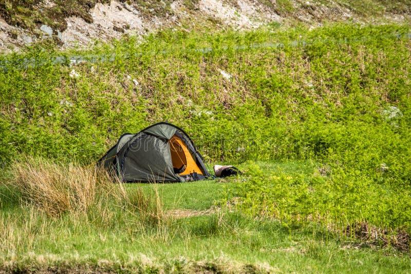 Wild camping in the wildernis of Glen Etive, Scotland stock photo