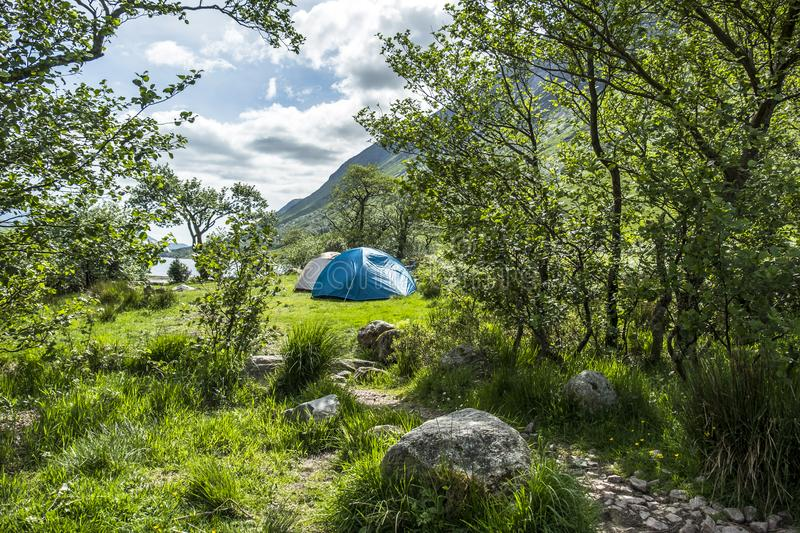 Wild camping in the wildernis of Glen Etive, Scotland royalty free stock photos