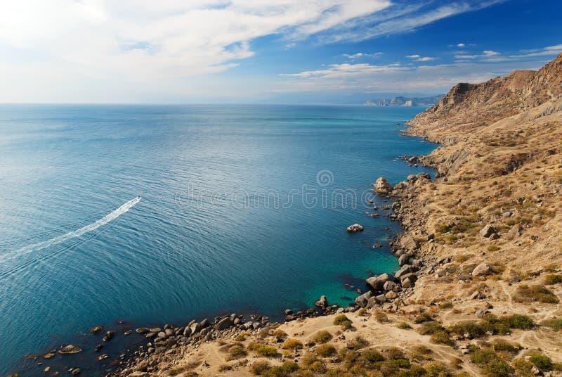 Wild coast of Black sea stock photo