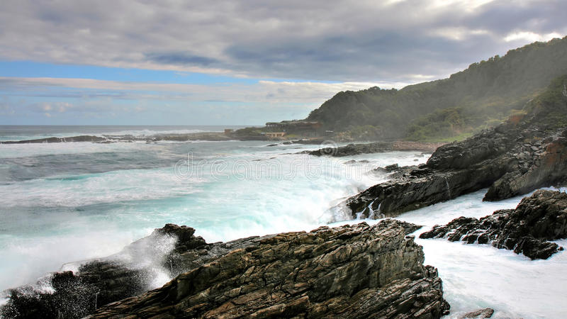 Wild coast and high waves, Storms River Mouth. Tsitsikamma, South Africa stock images