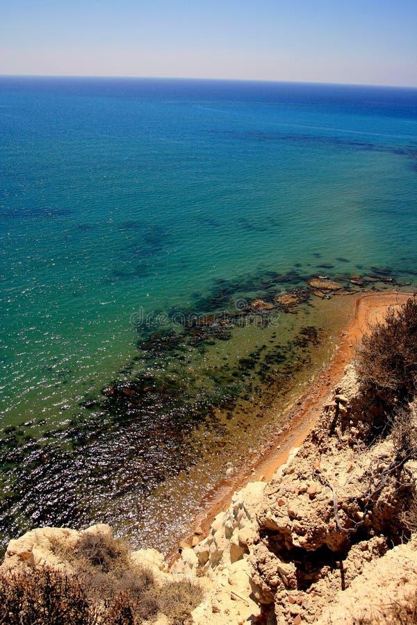 Wild coastline, transparent crystalline sea water. Wild coastline view & trasparent sea nuances. Mediterranean seascape. Eraclea Minoa. Island of Sicily. Italy stock photos