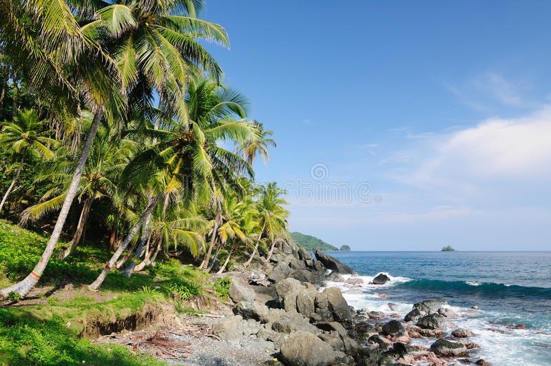 Wild Colombian Caribbean coast near Capurgana stock photography