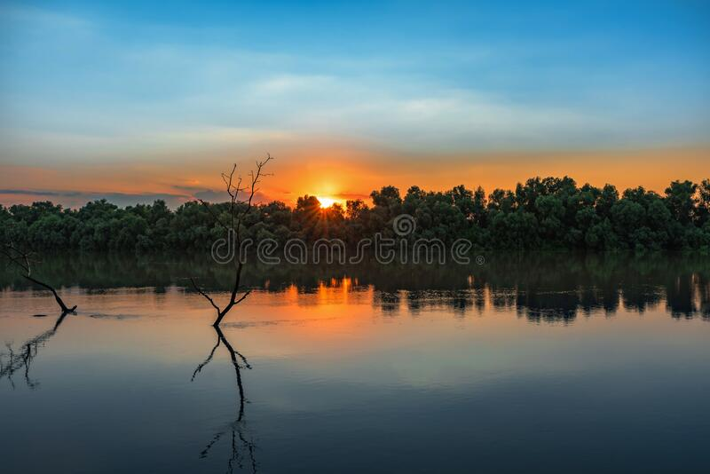 Wild Danube delta colorful sunset royalty free stock photo