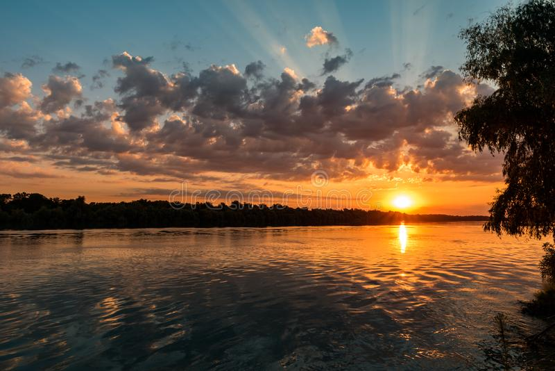 Wild Danube delta colorful sunset royalty free stock photos