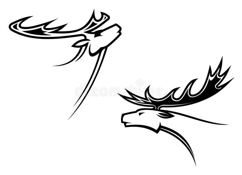 Wild deer mascots stock illustration