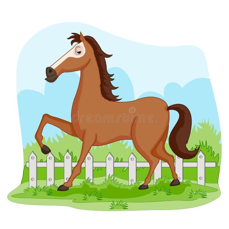 Wild dierlijk Paard op wildernis bosachtergrond vector illustratie