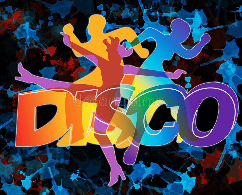 Wild disco dancers. Disco and modern dancing Dancers silhouettes on the grunge background stock illustration