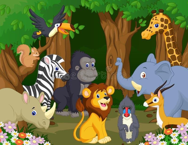 wild djur tecknad film royaltyfri illustrationer
