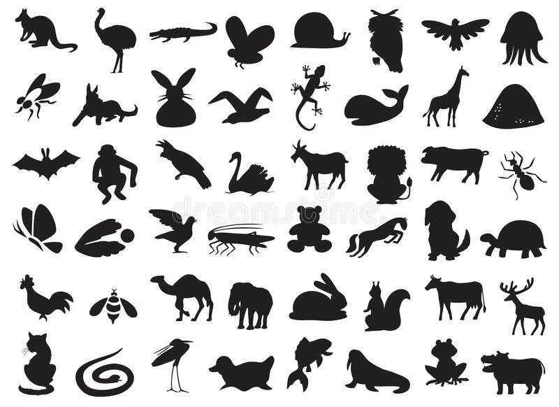 Wild and domestic animals silhouette. Silhouettes of wild and domestic animals, birds and insects on a white background vector illustration