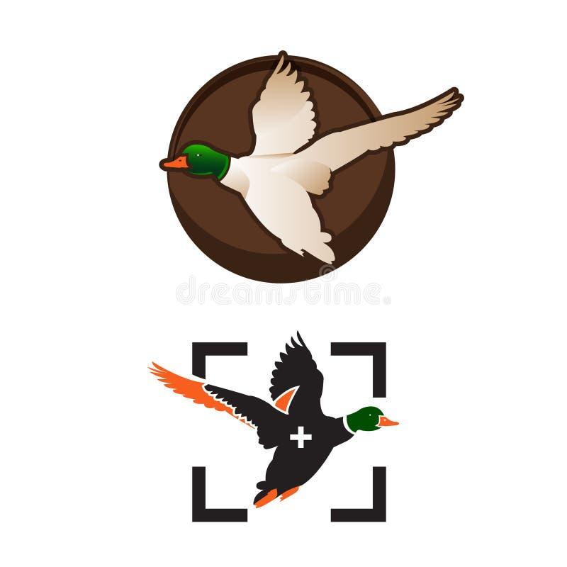 Wild ducks fly. Duck Hunting Mallard duck flies. Icon logo. Vector illustrations stock illustration