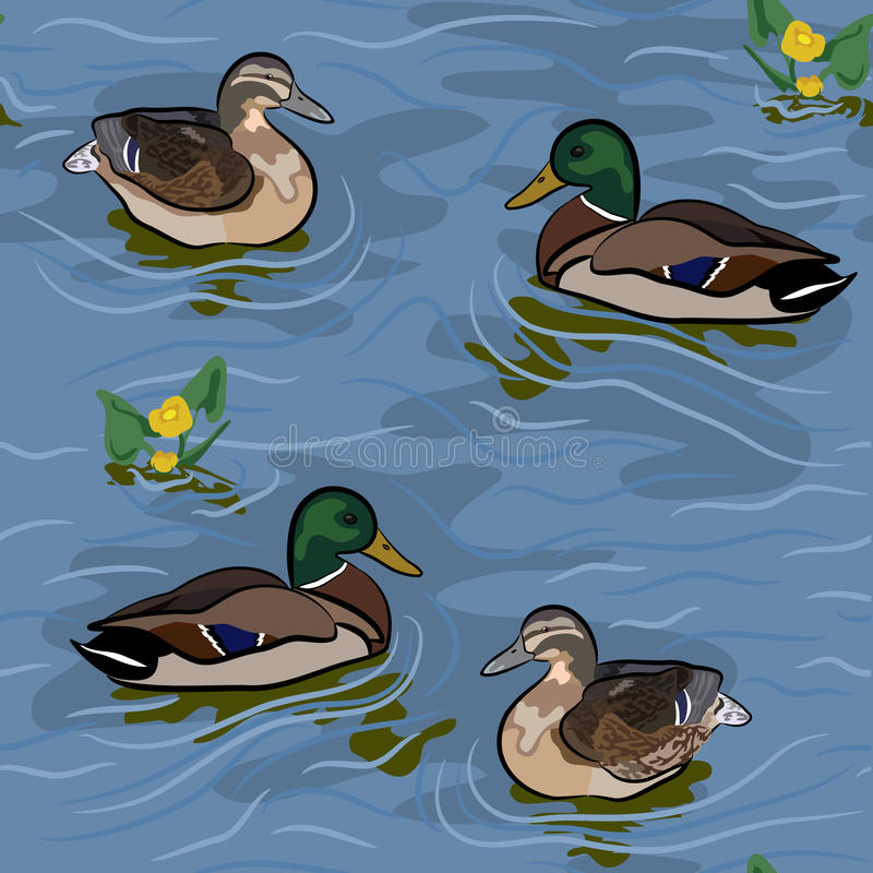 Free Wild Ducks Seamless Texture Royalty Free Stock Photo - 23198275