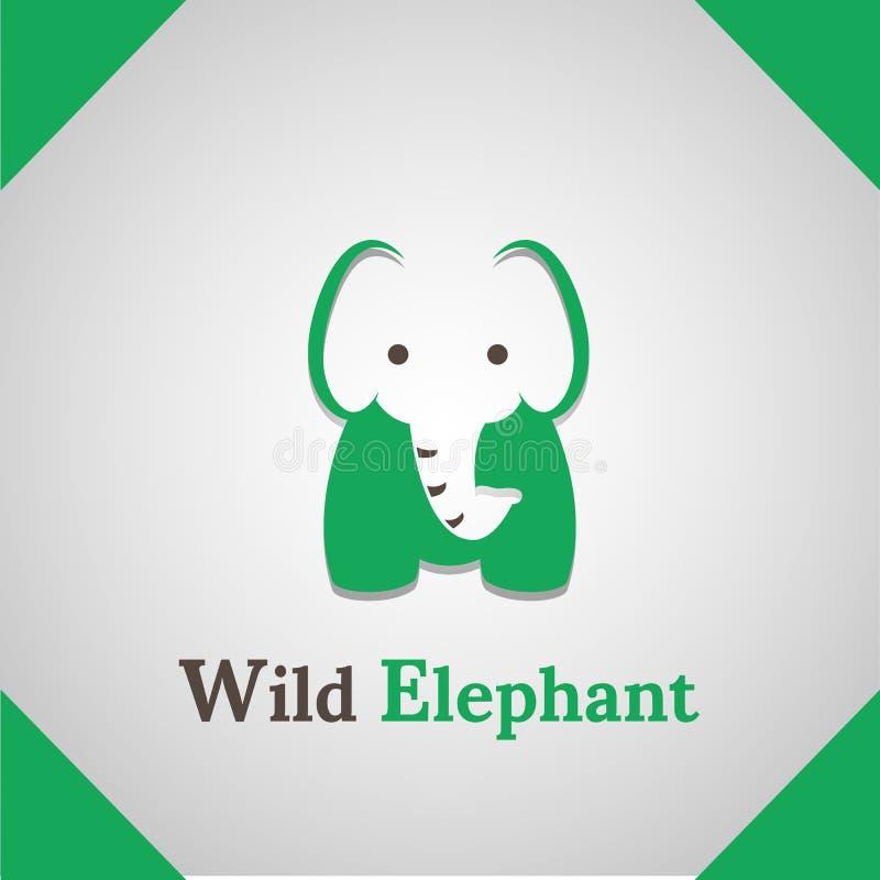 Wild Elephant silhouette icon logo stock photos