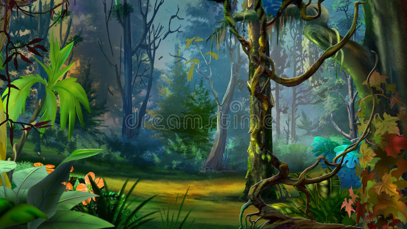 Wild en Donker Tropisch Bos stock illustratie