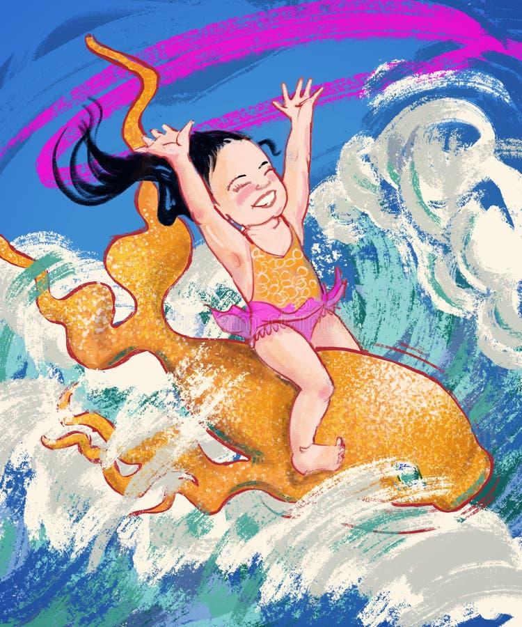 Wild en Vrij Oceaanmeisje vector illustratie