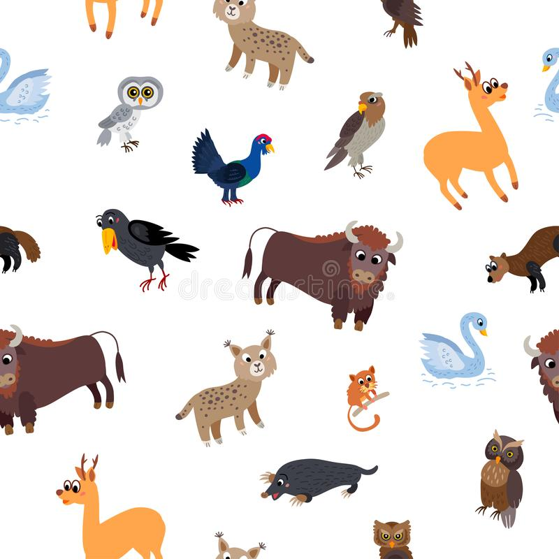 Wild Europe animals seamless pattern in flat style stock illustration