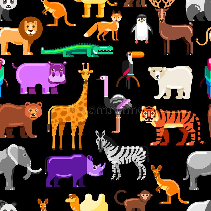 Wild exotic animals on black background. Vector seamless pattern. Colorful zoo or safari flat illustration stock illustration