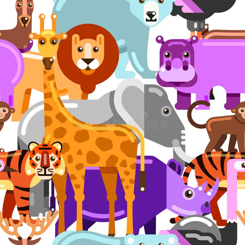 Wild exotic animals seamless pattern. Zoo or safari vector flat illustration. Multicolor cartoon cute background.  royalty free illustration