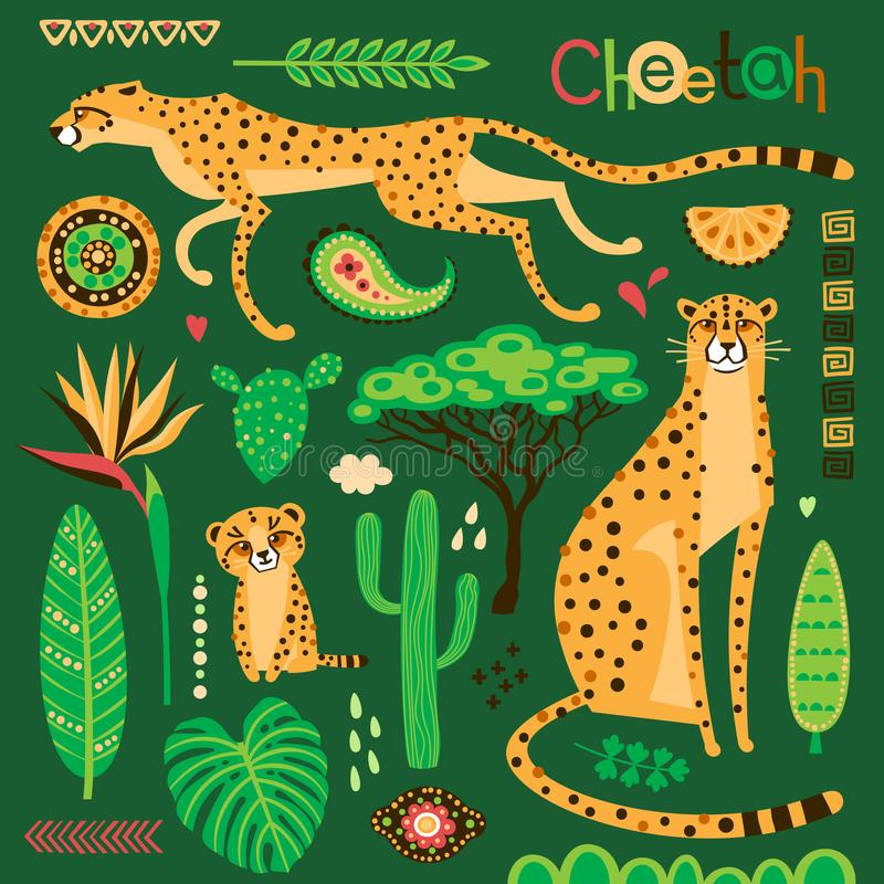 Wild exotic cats, tropical plants and ethnic patterns set. Cheetahs and their cub. Vector illustration of cartoon style.  royalty free illustration