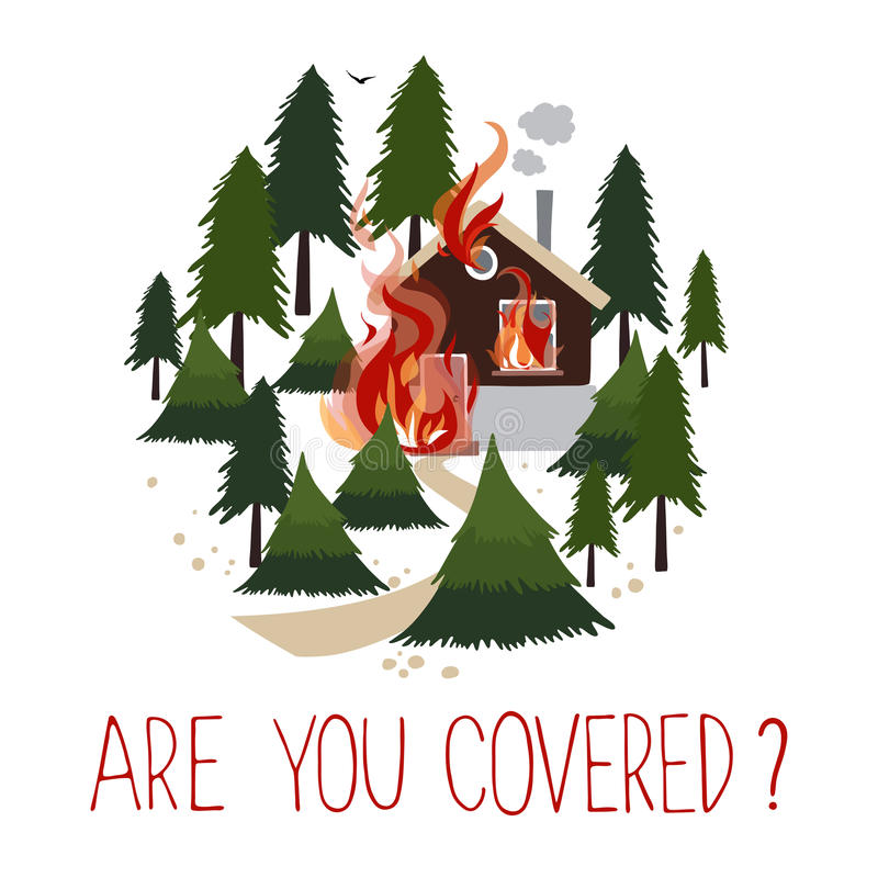 Wild fire in a forest. Burning house. royalty free illustration