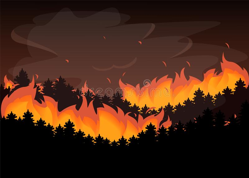 Wild fire in the forest. Natural disaster, red flame royalty free illustration