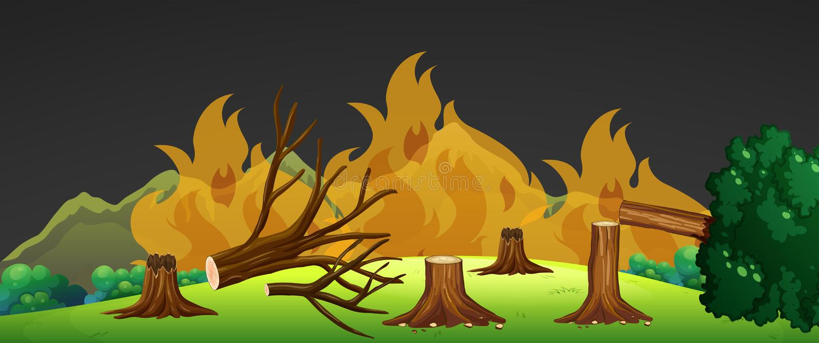 Wild fire in forest at night stock illustration
