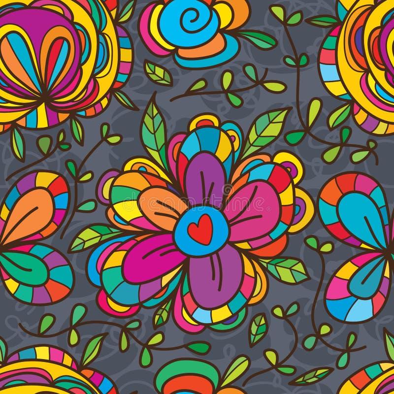 Wild flower big seamless pattern stock illustration