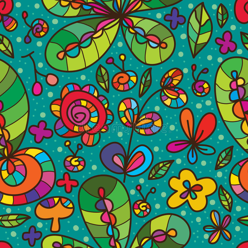 Wild flower green color drawing seamless pattern stock illustration